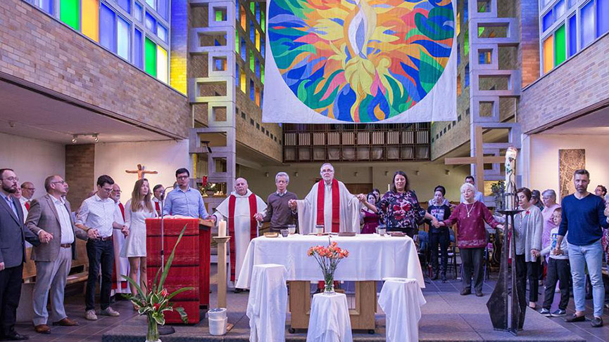 A liturgical celebration at the Saint-Albert-le-Grand Chapel in Montreal