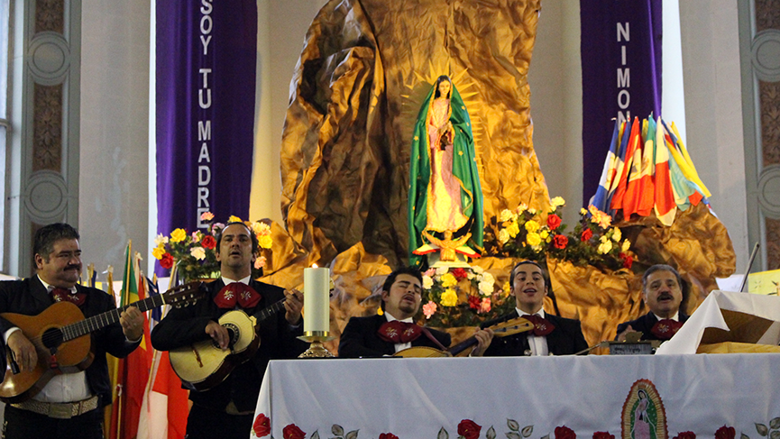 Mariachis celebrating Our Lady of Guadalupe in Montreal