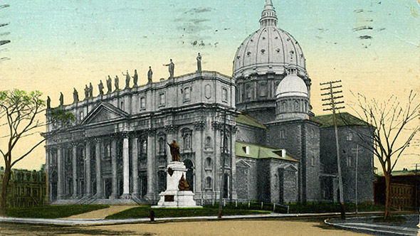 Postal card of Mary Queen of the World Cathedral (Photo : Centre d'histoire de Montréal)