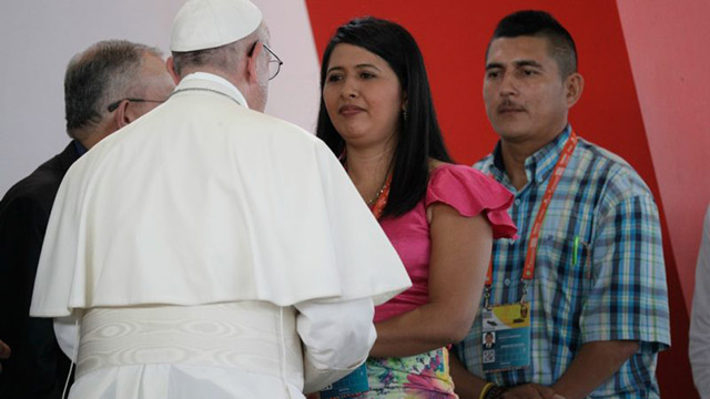 Pope Francis meeting Colombians