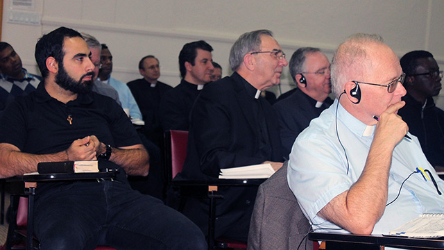 Msgr. Stephen Rossetti addresses Montreal priests at the Grand Séminaire.