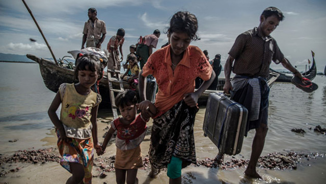 Rohingya communities forced to flee Myanmar and seek refuge in Bangladesh