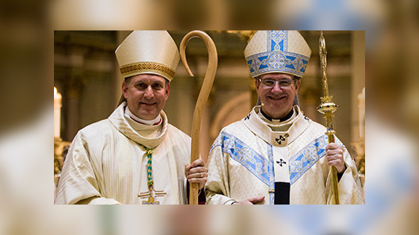 From left to right: Bishop Alain Faubert, Archbishop Christian Lépine