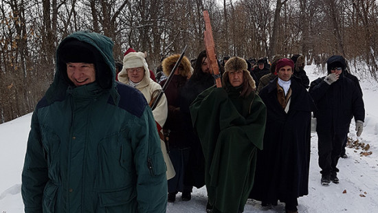 Archbishop Lépine leading the pilgrimage to the Mount Royal Cross, January 6, 2018
