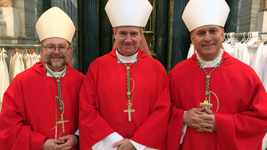 Left to right: Bishop Thomas Dowd, Archbishop Christian Lépine and Bishop Alain Faubert