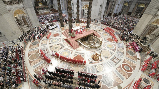 Mass in St. Peter's Basilica, Rome.
