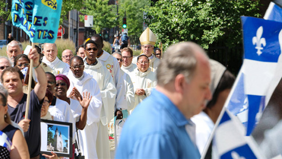 The procession before Solemn Mass at Saint-Jean-Baptiste Church